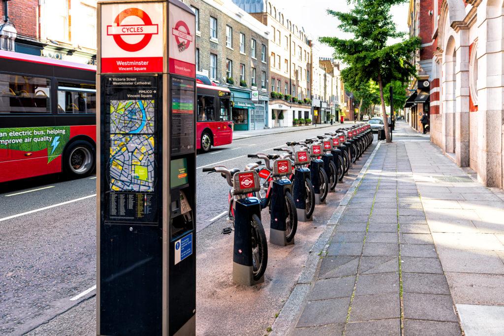 "London's Santander Cycles or ""Boris Bikes"""