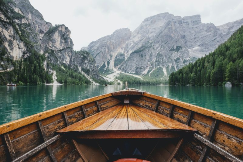 Travelling by boat through a gorge