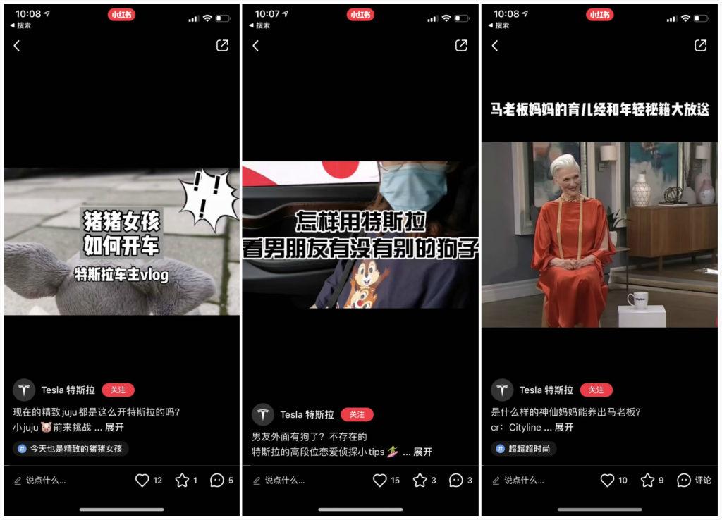 Tesla's posts on Xiaohongshu