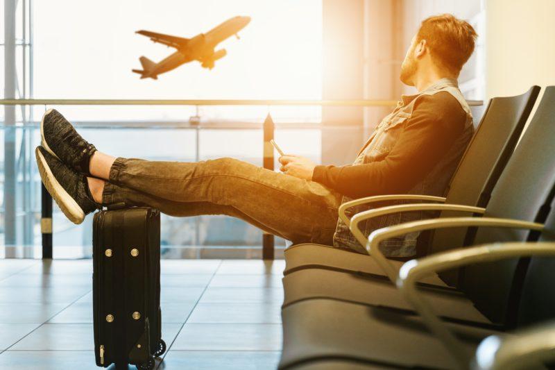 Man waiting at airport lounge