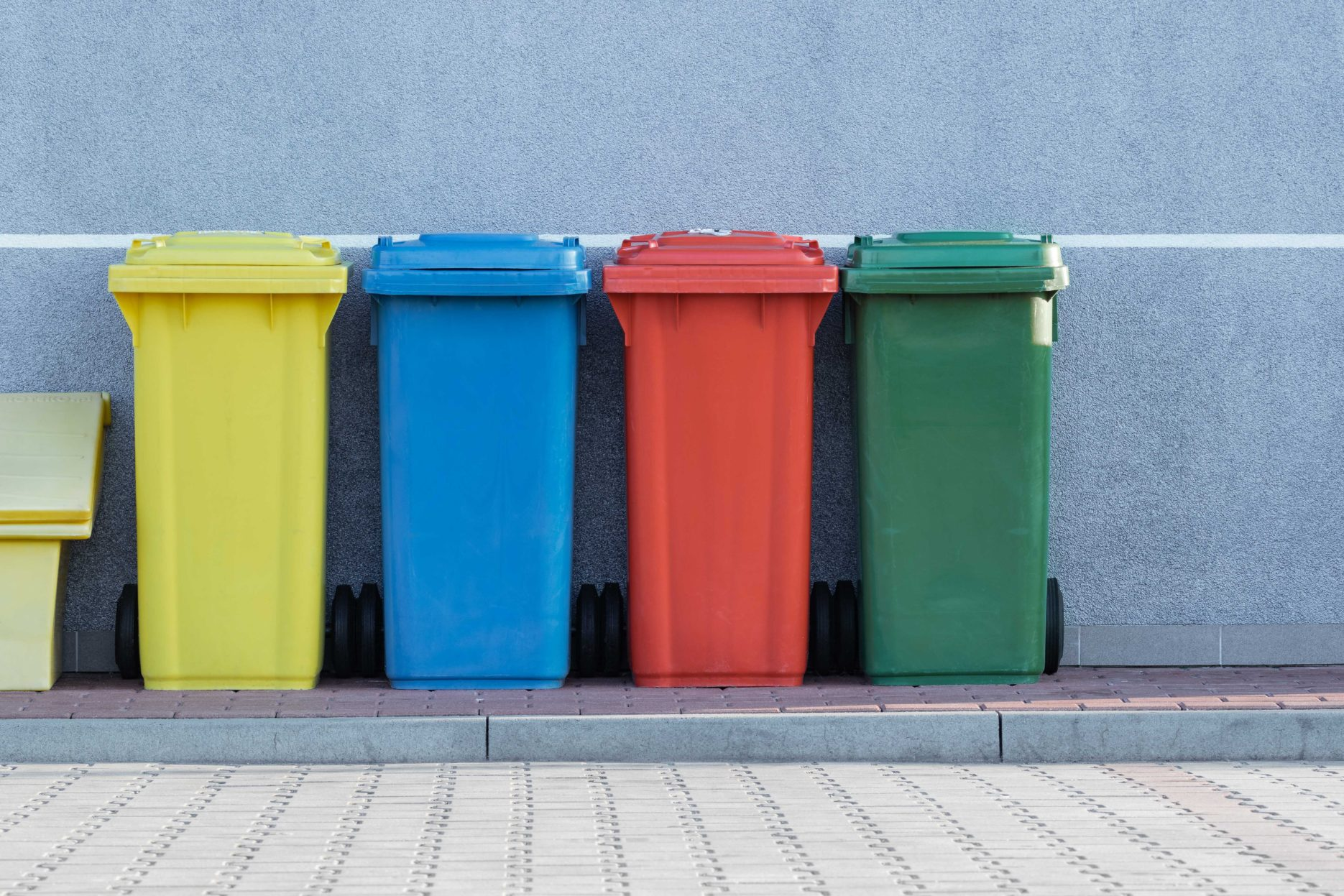 Multi-coloured recycling bins