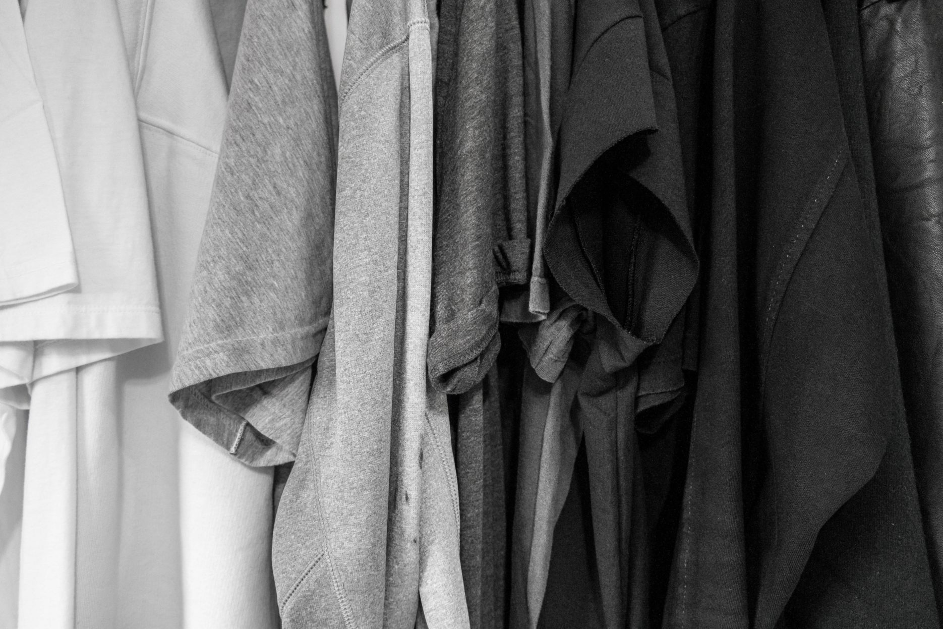 Grey clothes hanging on a line
