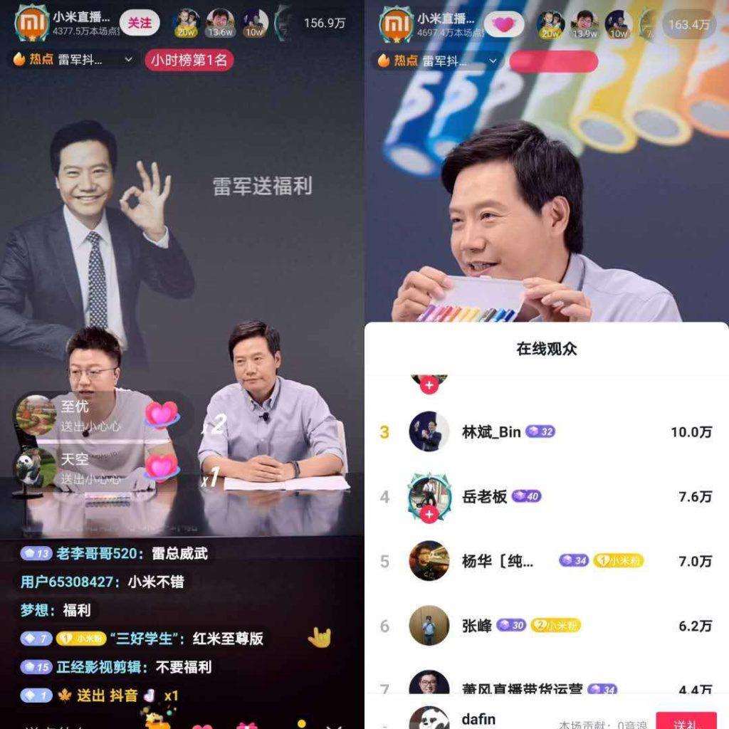 Xiaomi's CEO Lei Jun live-streaming