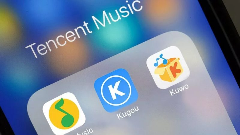 Tencent Music app shown on iPhone