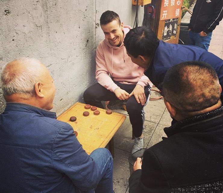 Playing Mahjong in china