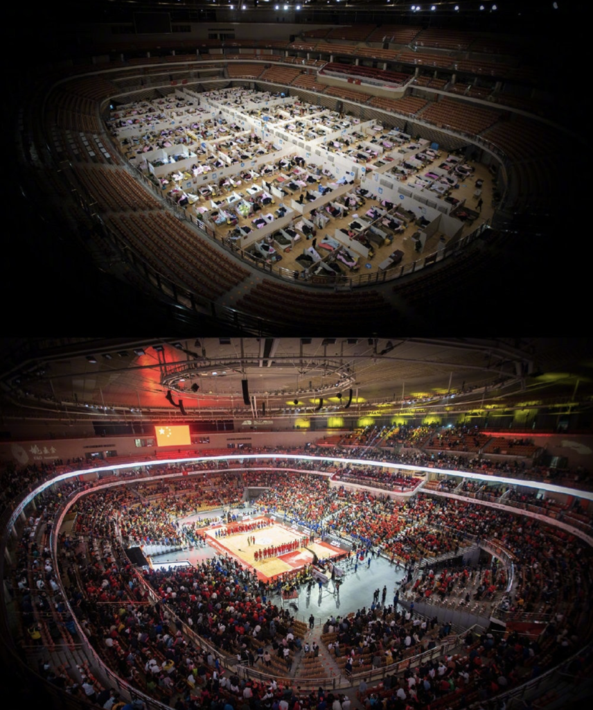 Wuhan stadium during and after COVID-19