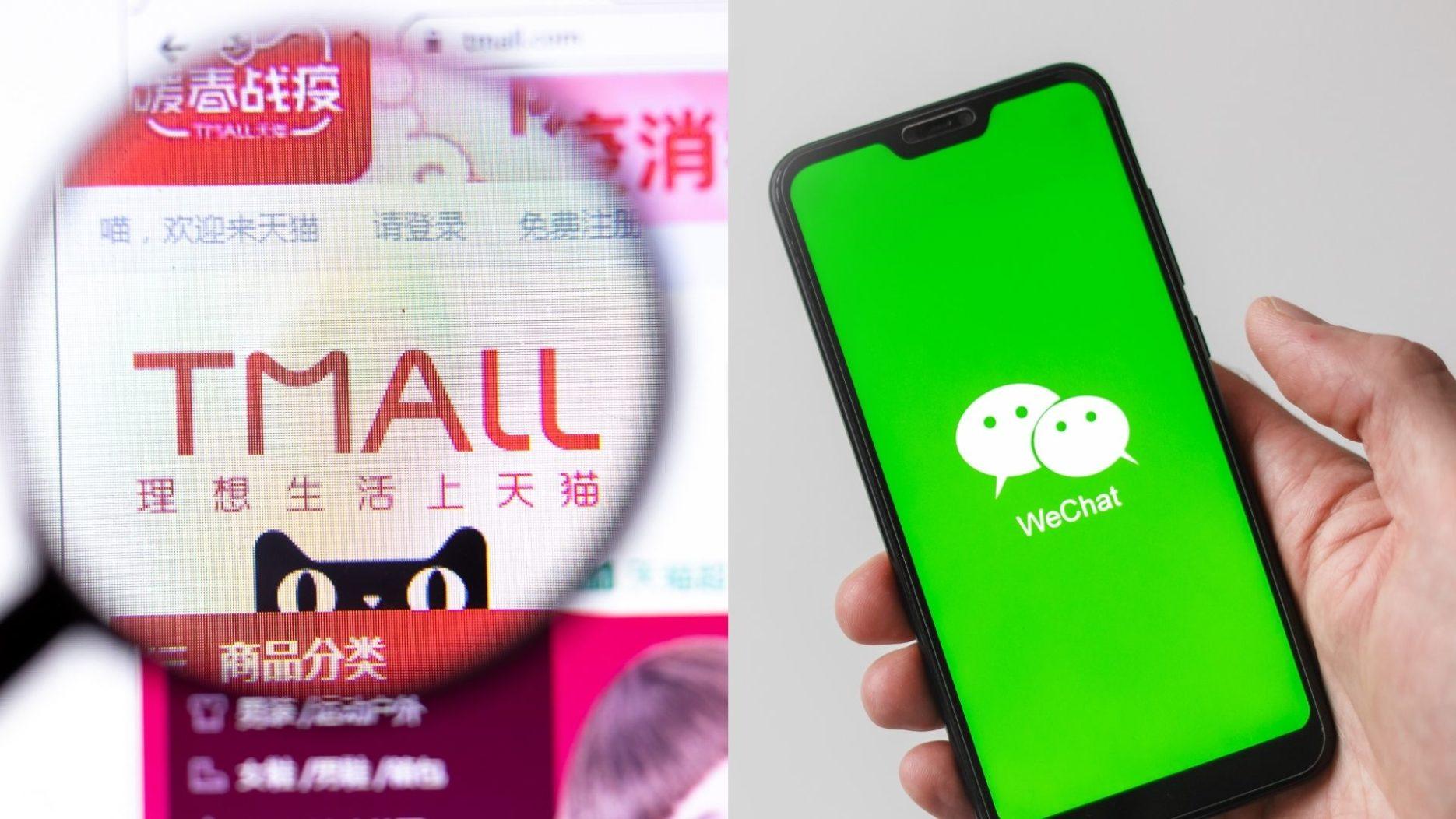 WeChat vs Tmall: e-commerce giants. credit: Adobe