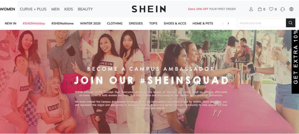 SHEIN ambassador - digital marketing
