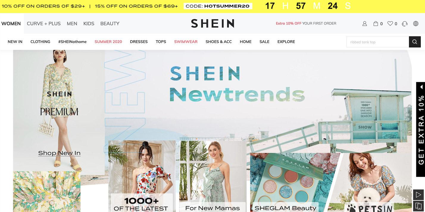SHEIN website. Credit: SHEIN