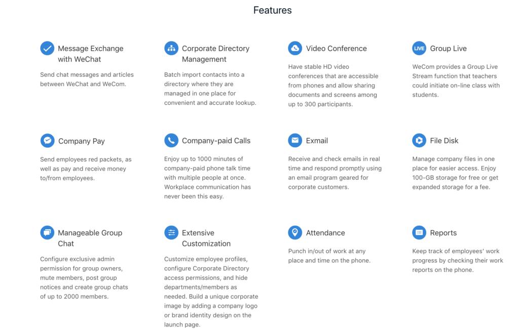 WeChat Work features Credit: WeChat Work