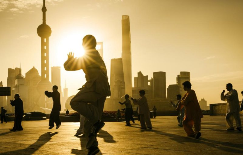 Tai chi at sunset China