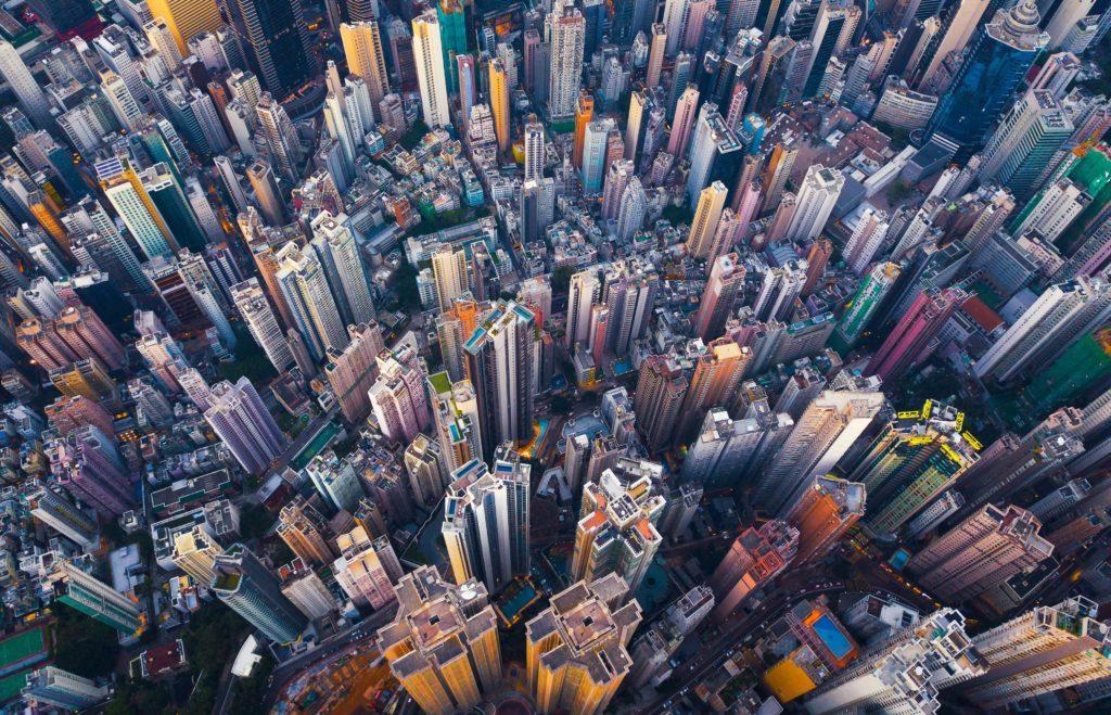 Urban apartment blocks in China