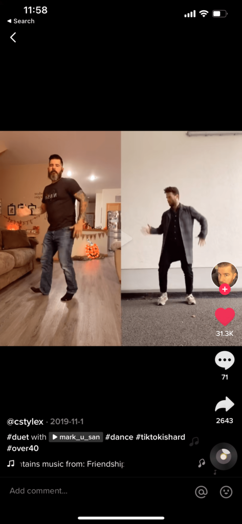 Duet dancing video on TikTok