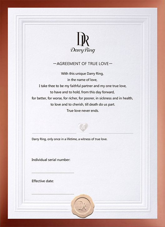 DARRY RING'S Certificate of true love