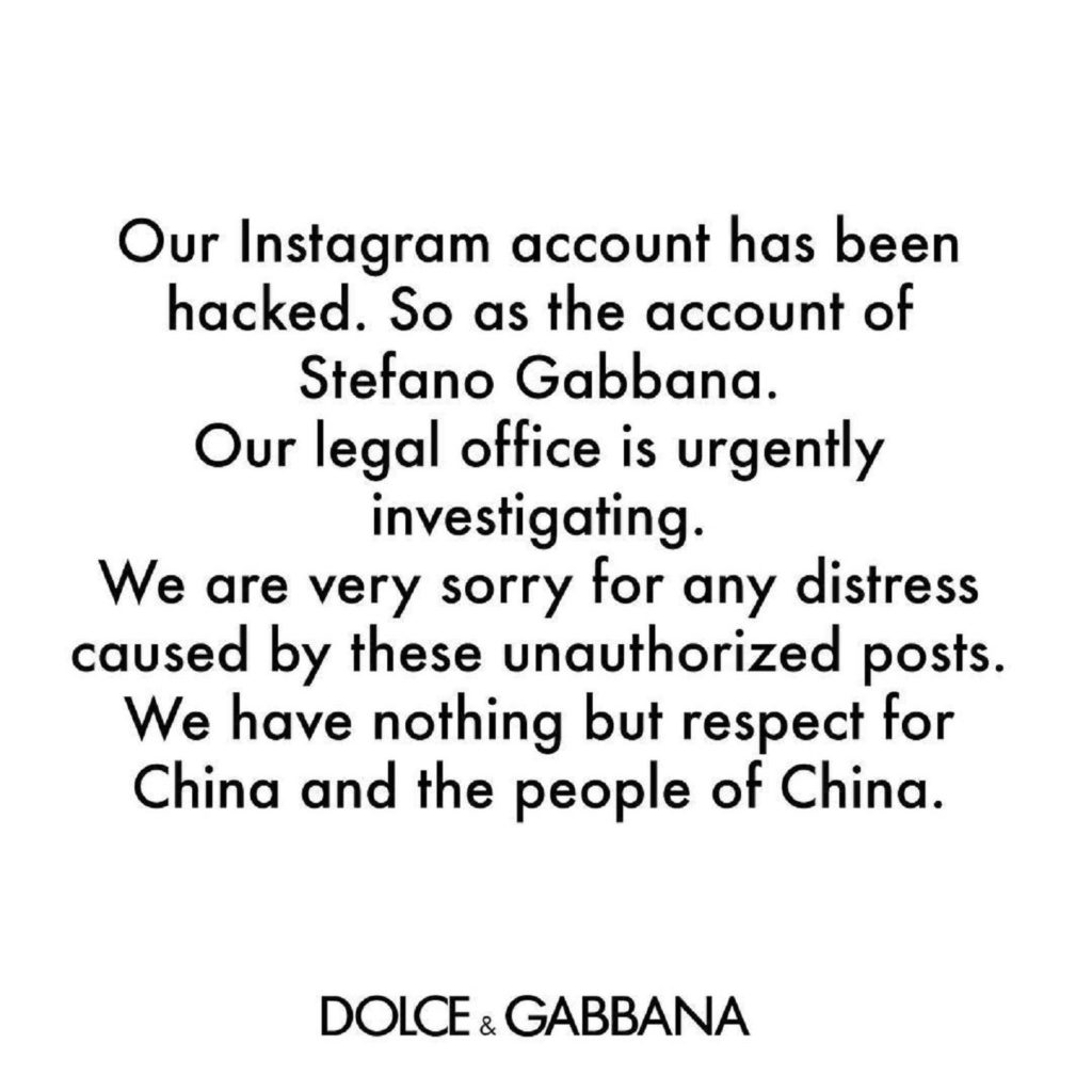 Dolce & Gabbana China Instagram comment