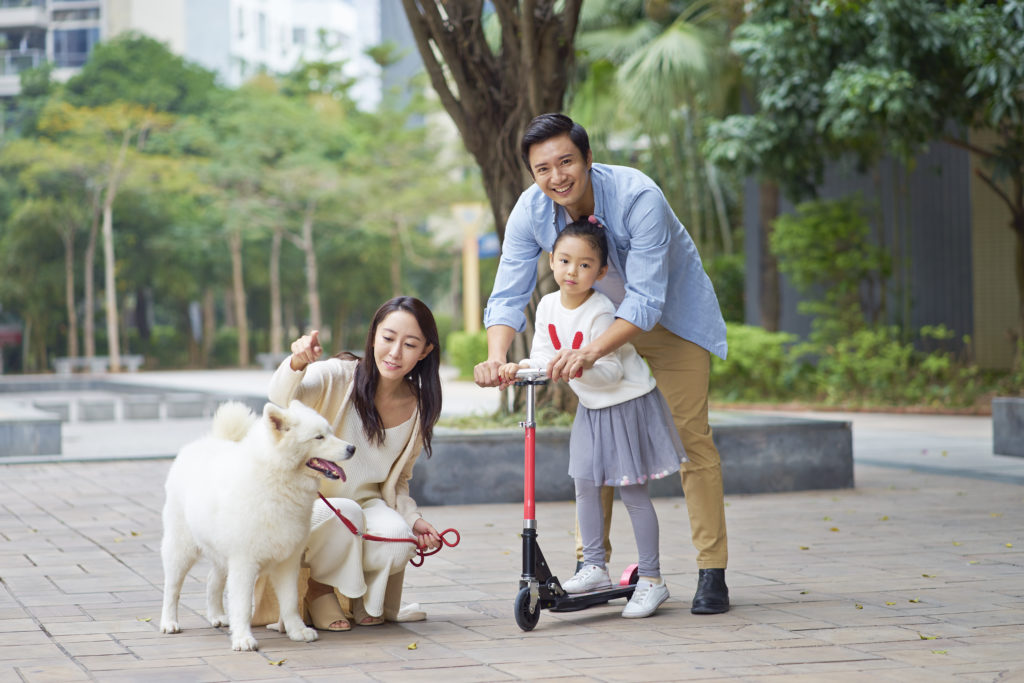 Chinese family with dog