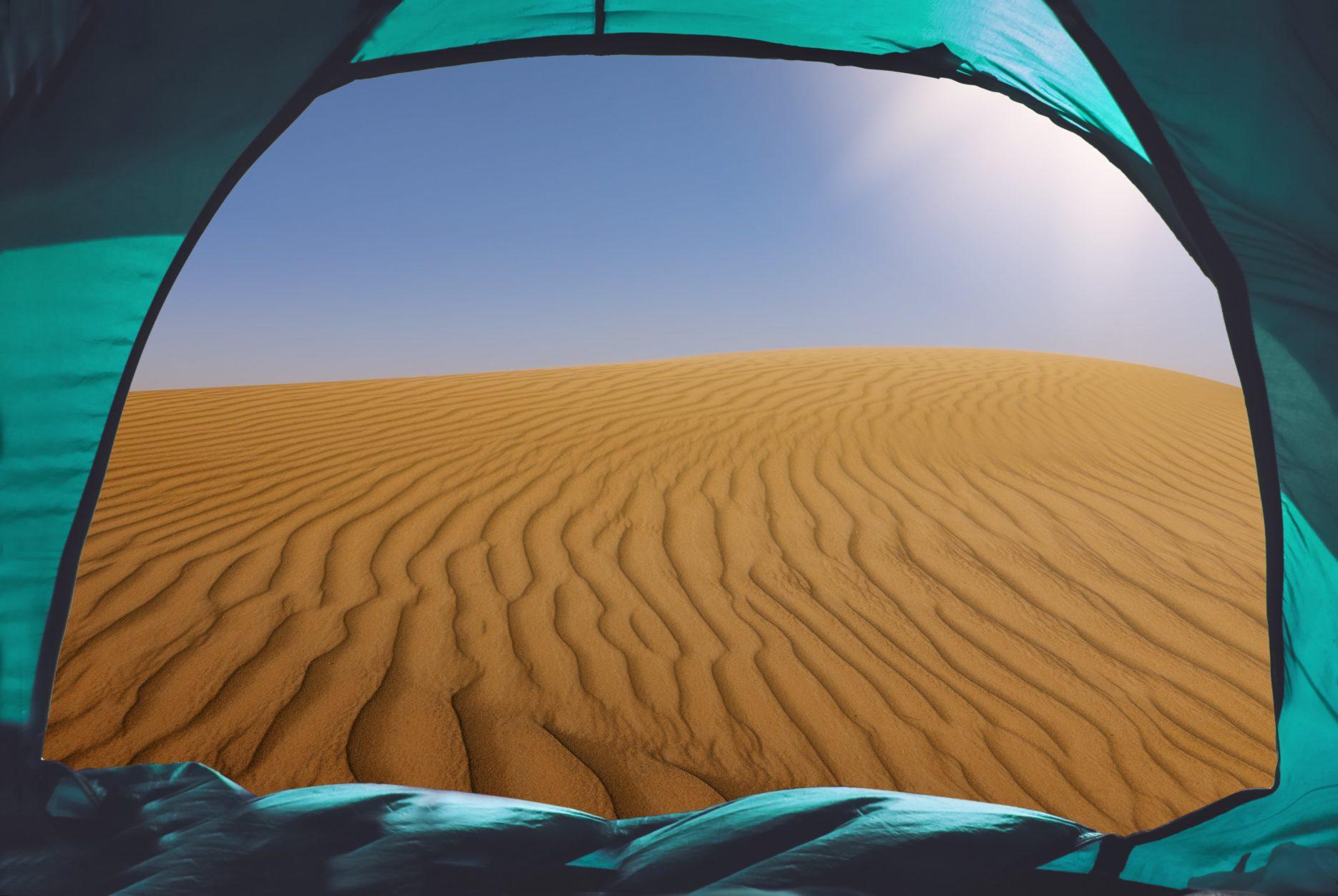 Camping in desert. Credit: adobe Stock